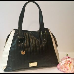 Handbags - Black and white expandable purse tote